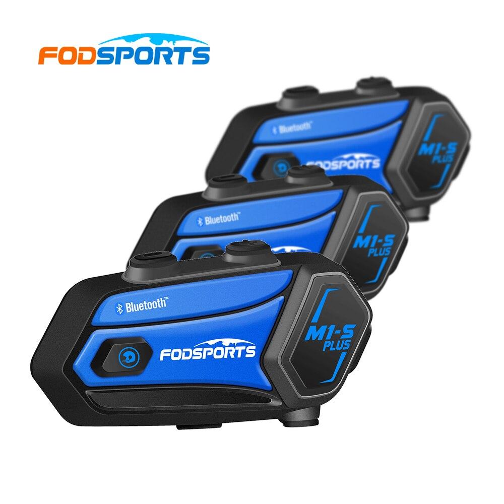 Fodsports M1s Plus خوذة للدراجات النارية اتصال داخلي سماعة رأس بخاصية البلوتوث 8 الدراجين المجموعة Intercomunicador موتو كتم ميكروفون الموسيقى المشاركة