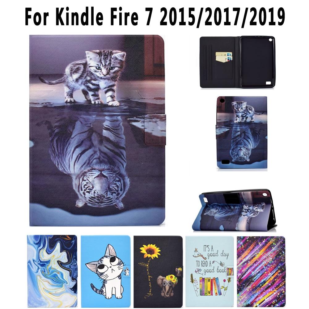 Funda blanda de dibujos animados a prueba de golpes para Amazon Kindle Fire 7 2015 2016 2017 Funda fina de cuero Pu pintada con tapa
