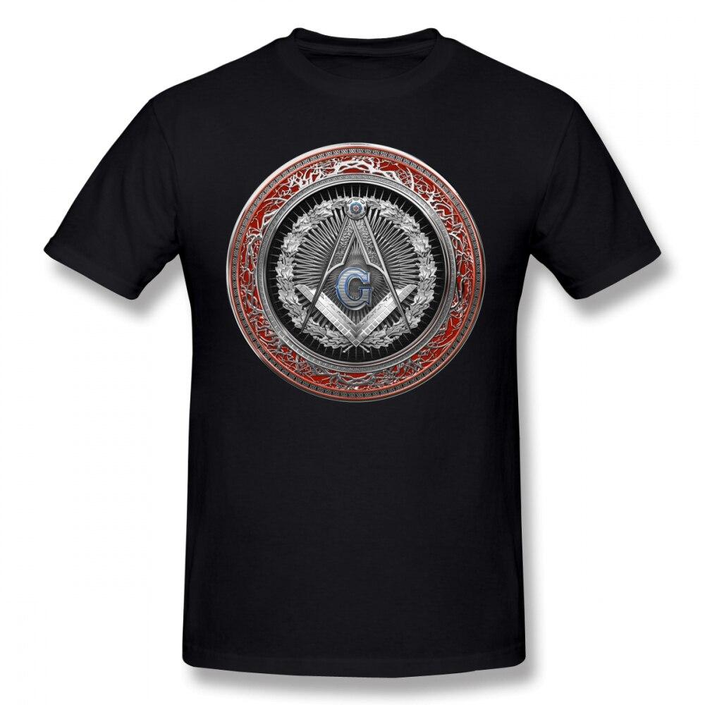 Masonic Symbols T Shirt 3rd Degree Mason Silver Jewel Master Mason Square And Compasses Over Red Velvet T-Shirt Basic Tee Shirt