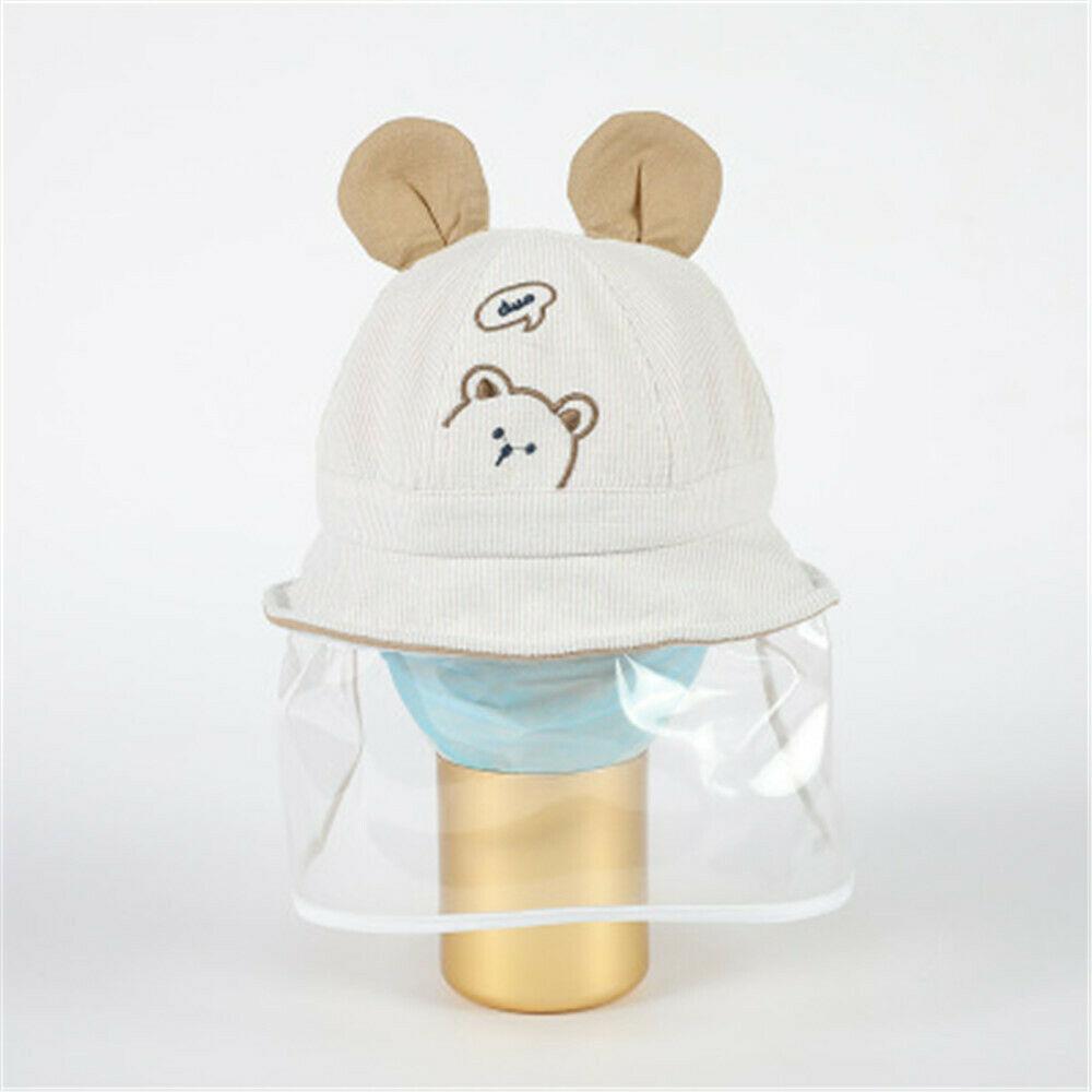 Kids Anti-spitting Bear Ear Protective Shield Cap Cover Children Outdoor Fisherman Hat Splash-Proof Bucket Hats