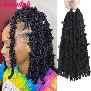 Antoniah Butterfly Locs Crochet Hair 14Inch Butterfly Locs Crochet Braids Hair Goddess Pre Looped Bob Locs Pre-Twisted Braids
