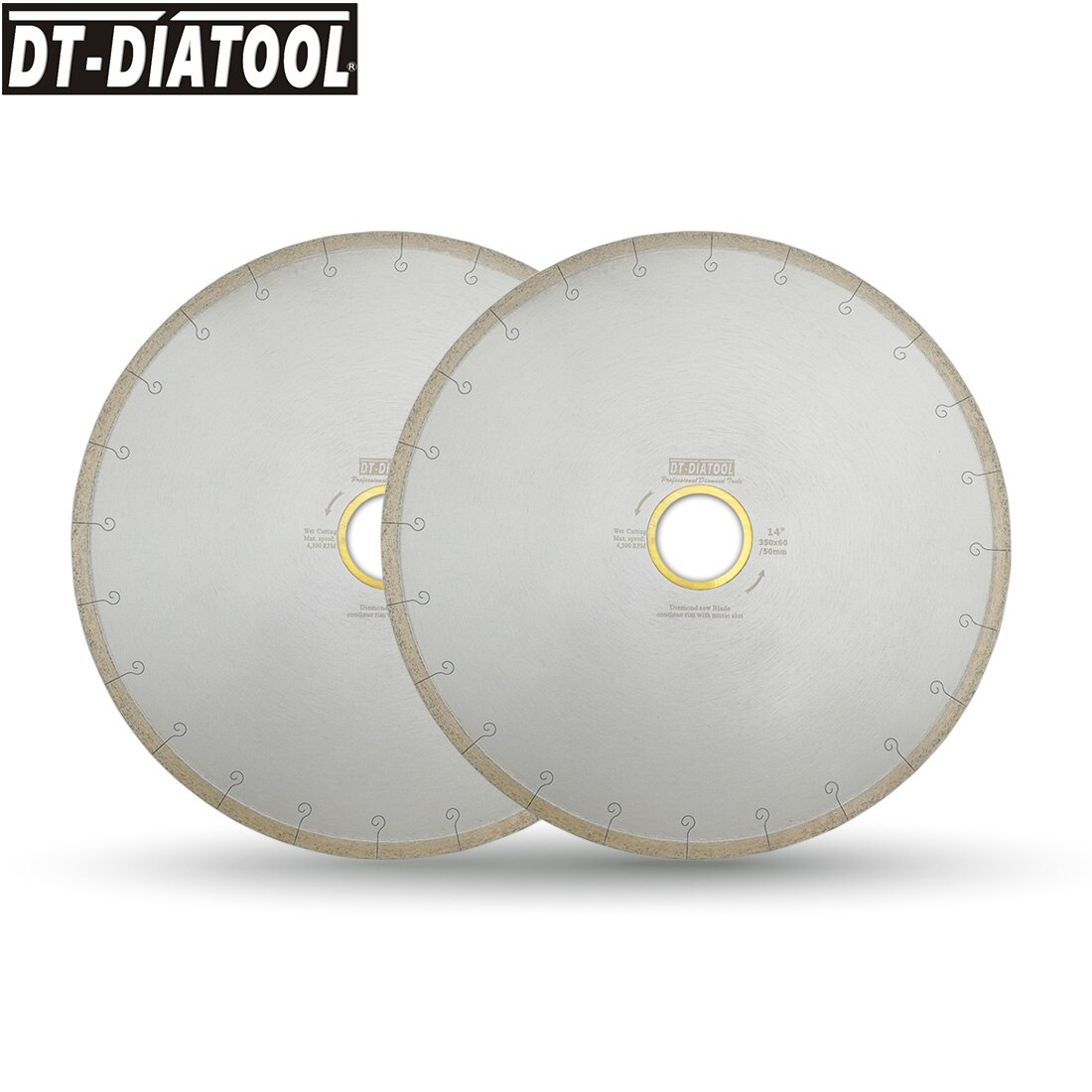 DT-DIATOOL 2pcs 300/350mm Wet Diamond Ceramic Cutting Disc Saw Blades With Hook Slot Bore 60mm with 50mm Reducer For Tile Marble