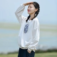 retro floral embroidery leisure pullover women o neck loose casual sweatshirts simple ethnic style autumn winter long sleeve top