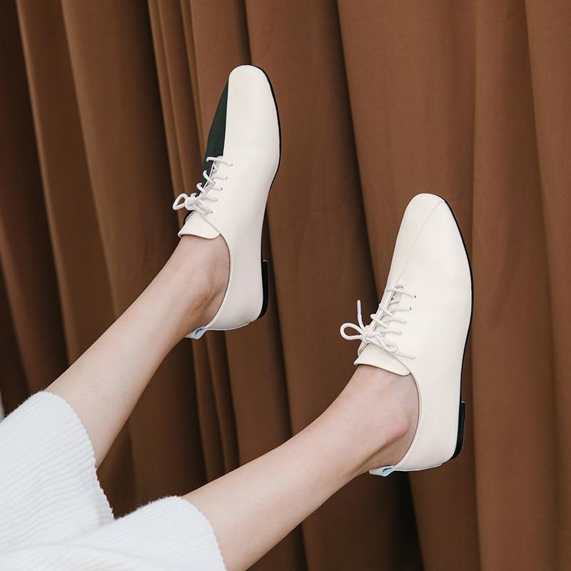 Bombas femininas sapatos de couro genuíno mais tamanho 22-26.5cm de comprimento sapatos casuais de salto baixo primavera e outono moda personalidade