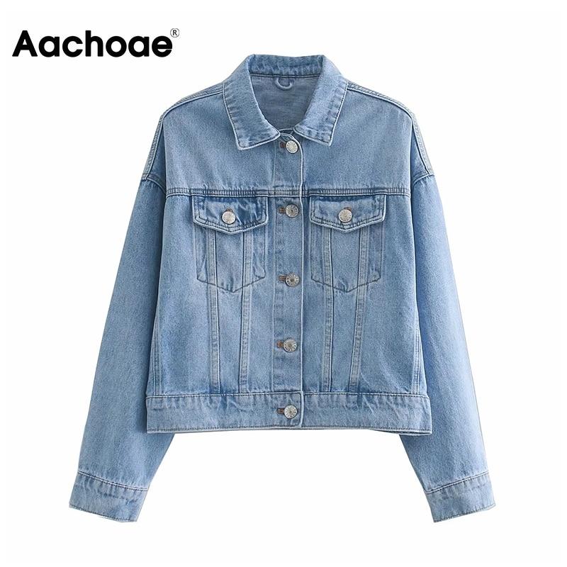 Chaqueta vaquera Aachoae azul a la moda para mujer, ropa de calle de algodón de manga larga con bolsillos, abrigo con cuello doblado, Chaquetas vaqueras casuales sueltas