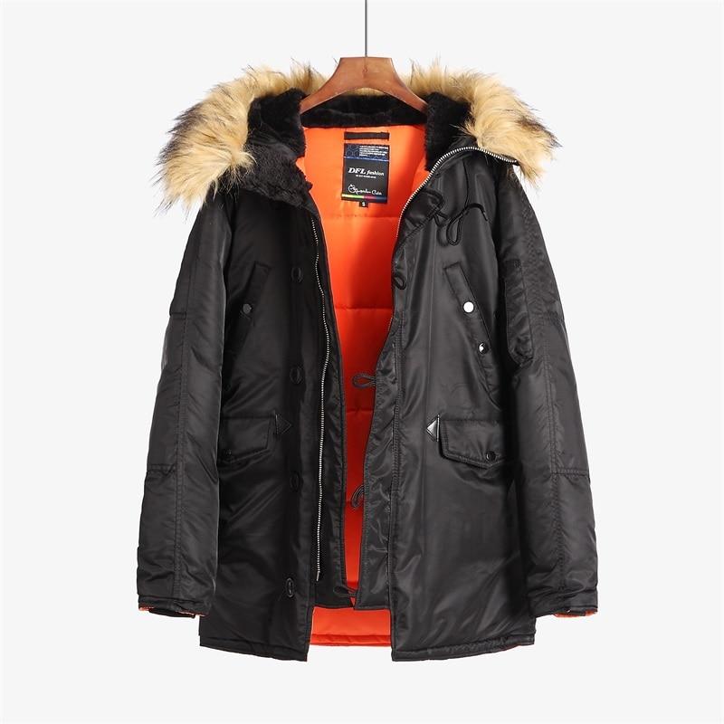 Зимнее пальто Аляска, мужская приталенная Толстая парка с меховым капюшоном, стеганая куртка в стиле милитари для холодной погоды