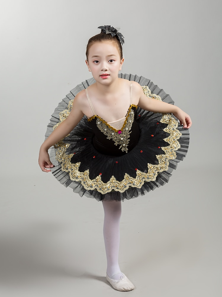 Branco preto cisne lago ouro delicado vestido de renda feminino ballet tutu vestido meninas bailarina diamante palco desempenho traje
