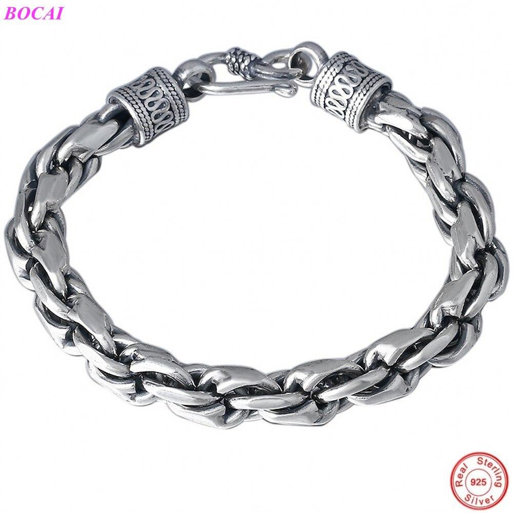Promo BOCAI S925 Sterling Silver Bracelet Fashion Classic Thai Silver Woven Men's Hand Chain Domineering Punk Pure Argentum Jewelry