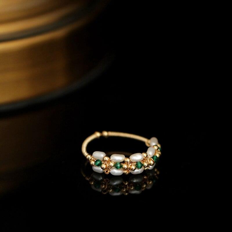 Anillo barroco de perlas para mujer, hecho a mano, creativo, perlas naturales de agua dulce, anillo para chica, joyería ligera de lujo, anillos abiertos para regalo