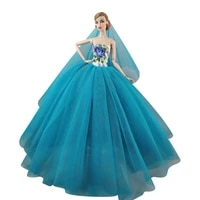16 bjd doll clothes for barbie dresses fashion blue princess wedding party gown evening dress outfit 11 5 dolls accessory toys