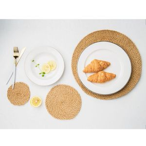 Flax Straw Restaurant Round Place Mat Table Cloth Pad Insulation Cup Bowl Tableware
