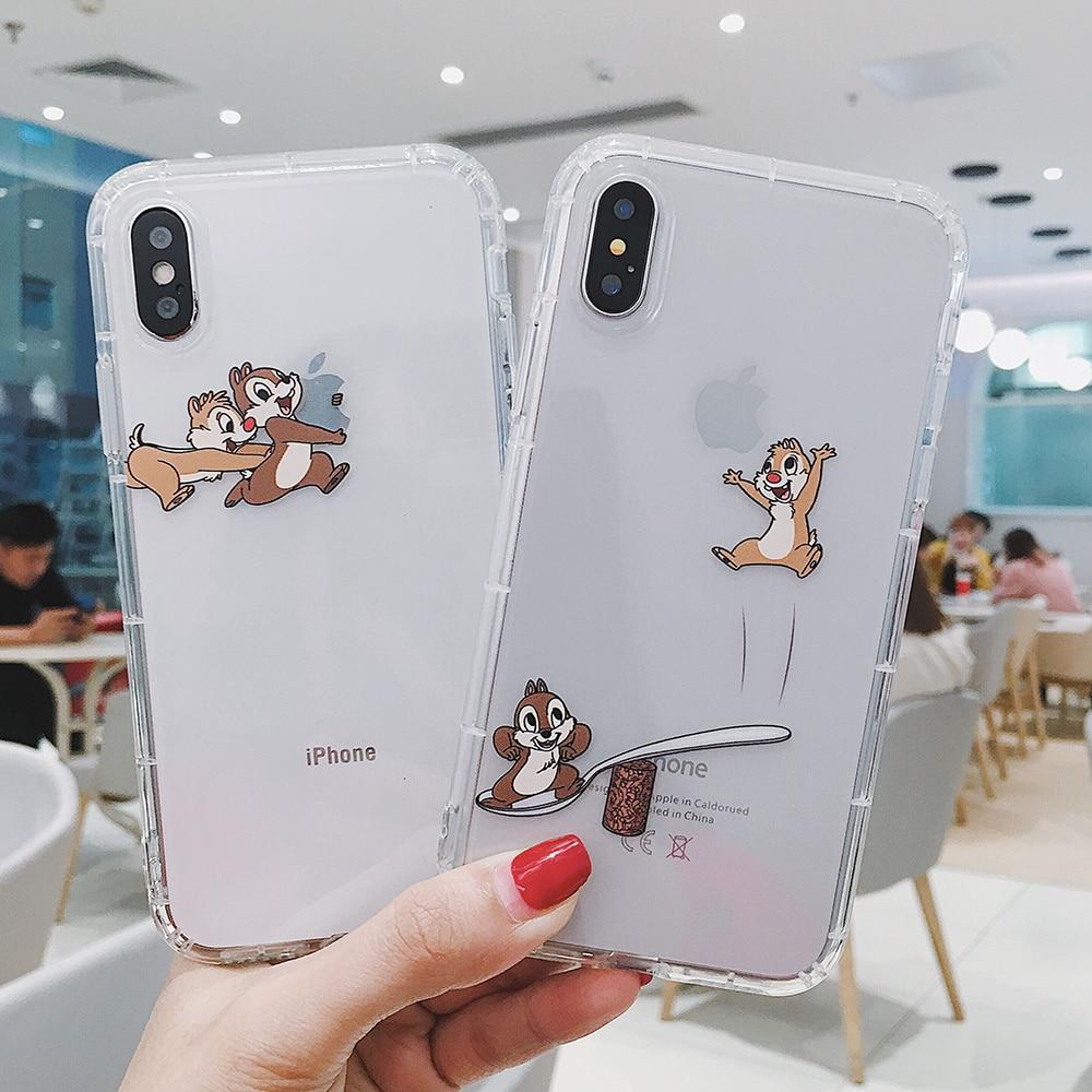 Cartoon Chip Dale Squirrel Phone Case For iPhone 11 Pro Max 7 8 6 6S Plus X XR XS MAX Transparent Cute Soft TPU Back Cover Case