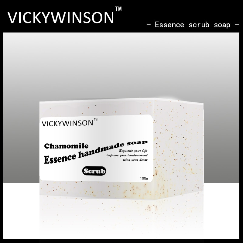 VICKYWINSON Chamomile essence scrub soap 100g Back cleansing soap, anti-itch, moisturizing, acne removal, scrub soaps