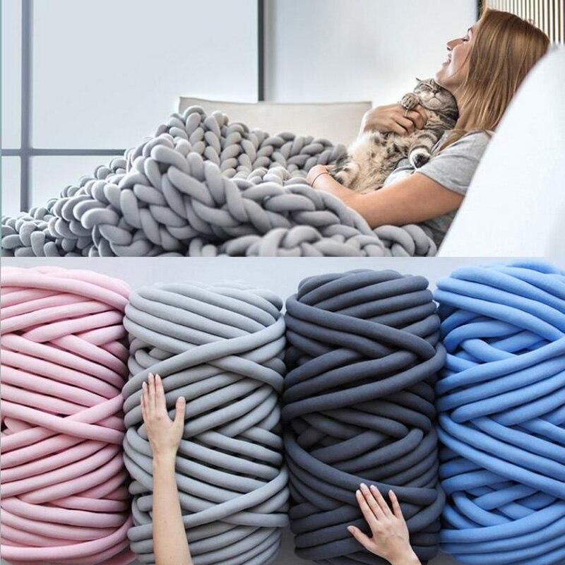 1000 г Супер плотная пряжа, хлопчатобумажная трубка, пряжа из мериносовой шерсти, альтернатива DIY, объемное вязаное одеяло, ручная вязка, пряжа