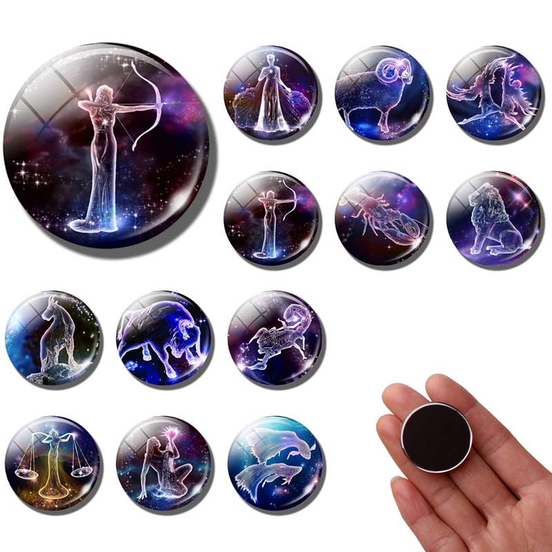 Signos do zodíaco geladeira ímã 12 constelação geladeira ímã escorpião sagitário capricórnio aquário geladeira adesivo decoração da sua casa