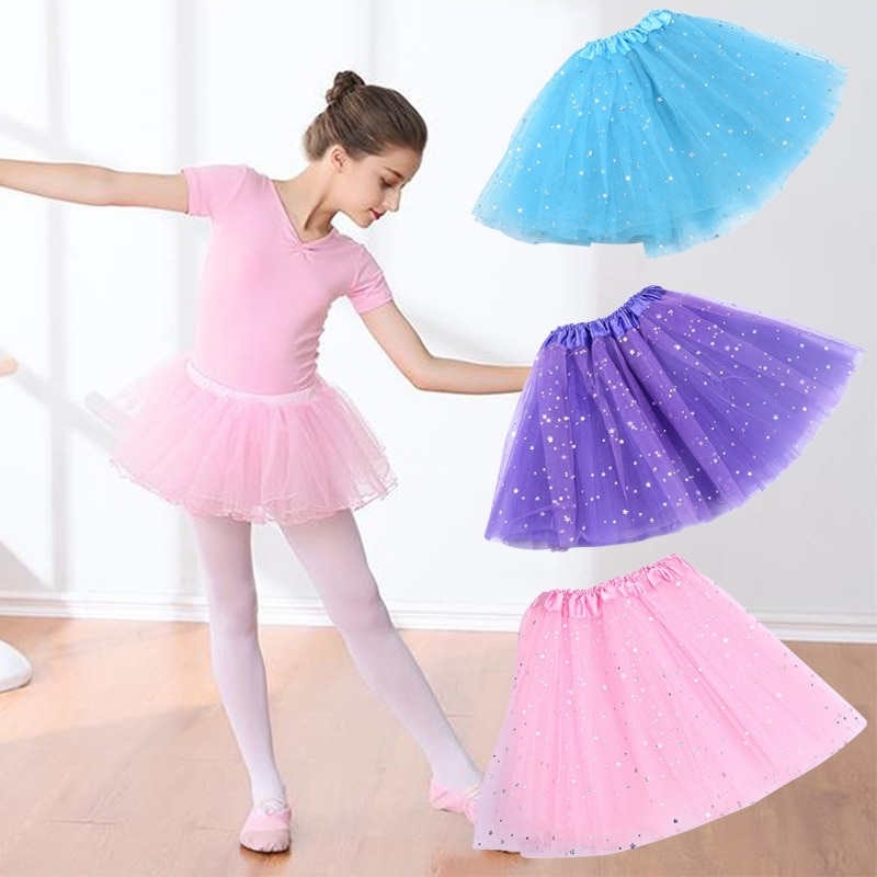 Moda bebé Ballet Tutu niños falda niñas princesa estrellas brillo falda tutú de baile lentejuelas vestido fiesta de baile