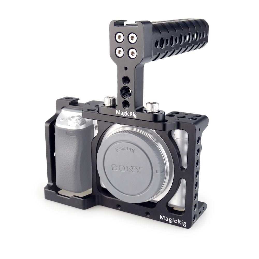 Jaula de cámara MAGICRIG DSLR con mango superior para Sony A6400/A6500/A6300/A6000 cámara para montar micrófono monitor de Flash de luz LED