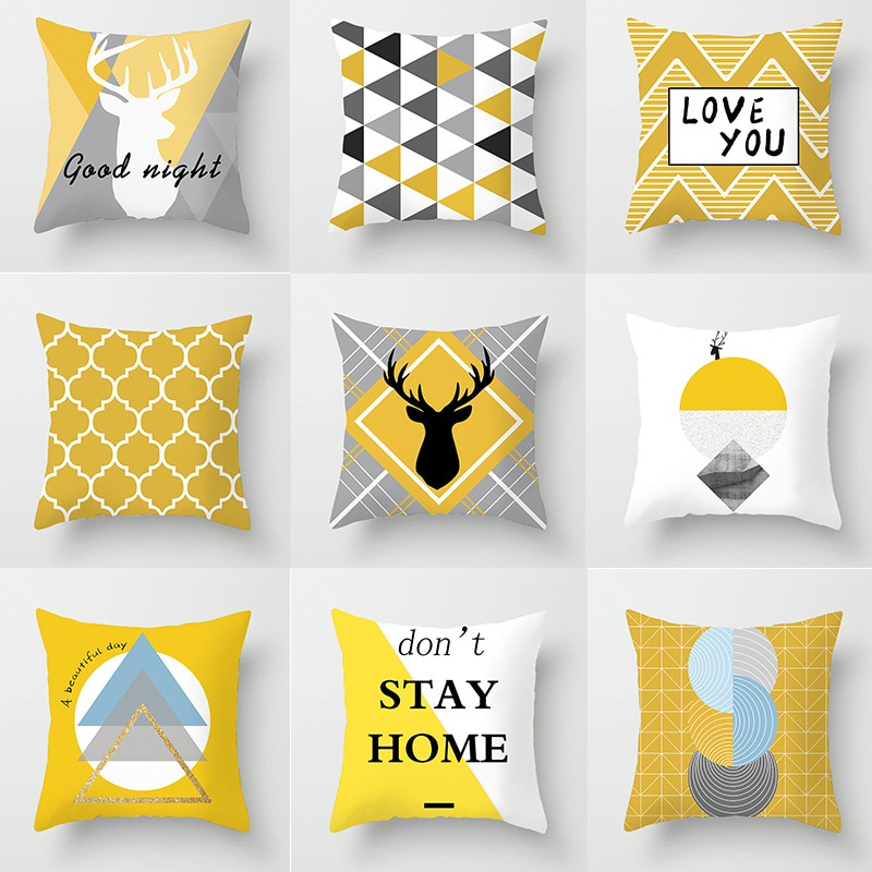 Простой Желтый чехол для подушки с геометрическим рисунком лося, чехол для дивана, чехол для подушки, домашний декор, чехол для автомобильно... чехол