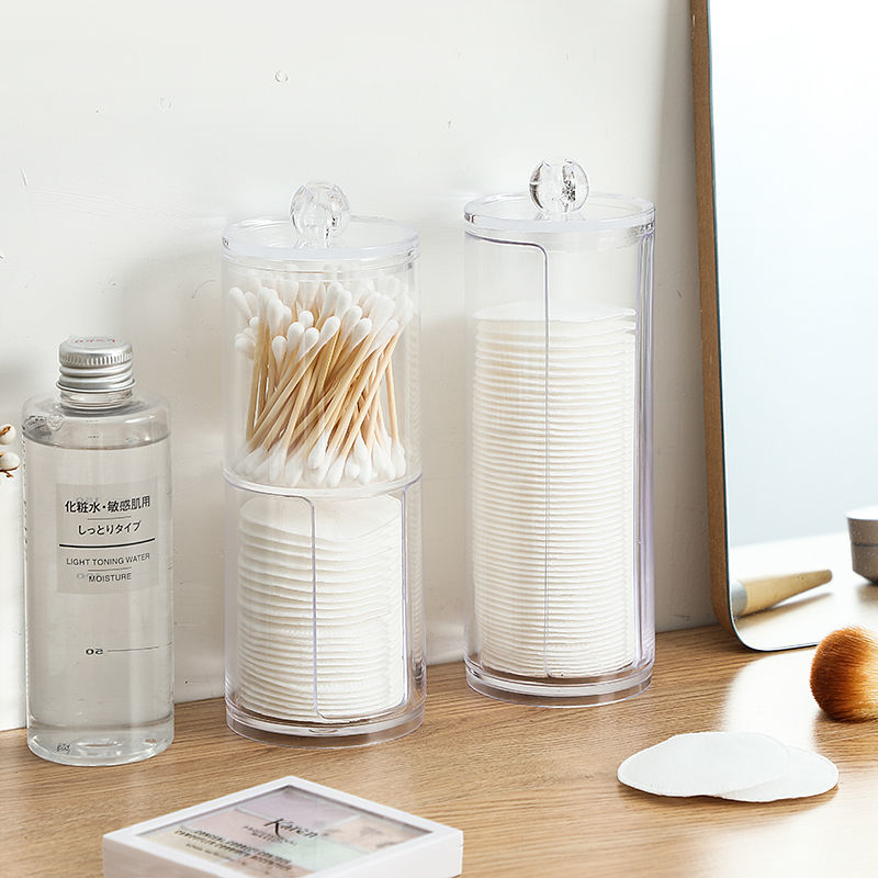 Makeup Organizer Cosmetic Storage Box Organizador Cotton Swab Holder Cotton Pad Box Clear Plastic Box with Lid Dust-proof