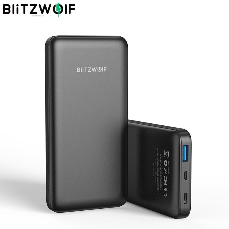 BlitzWolf BW-P9 18 واط 10000 مللي أمبير USB PD QC 3.0 قوة البنك نوع C شحن سريع المزدوج آيفون 12 برو ماكس ل شاومي لهواوي