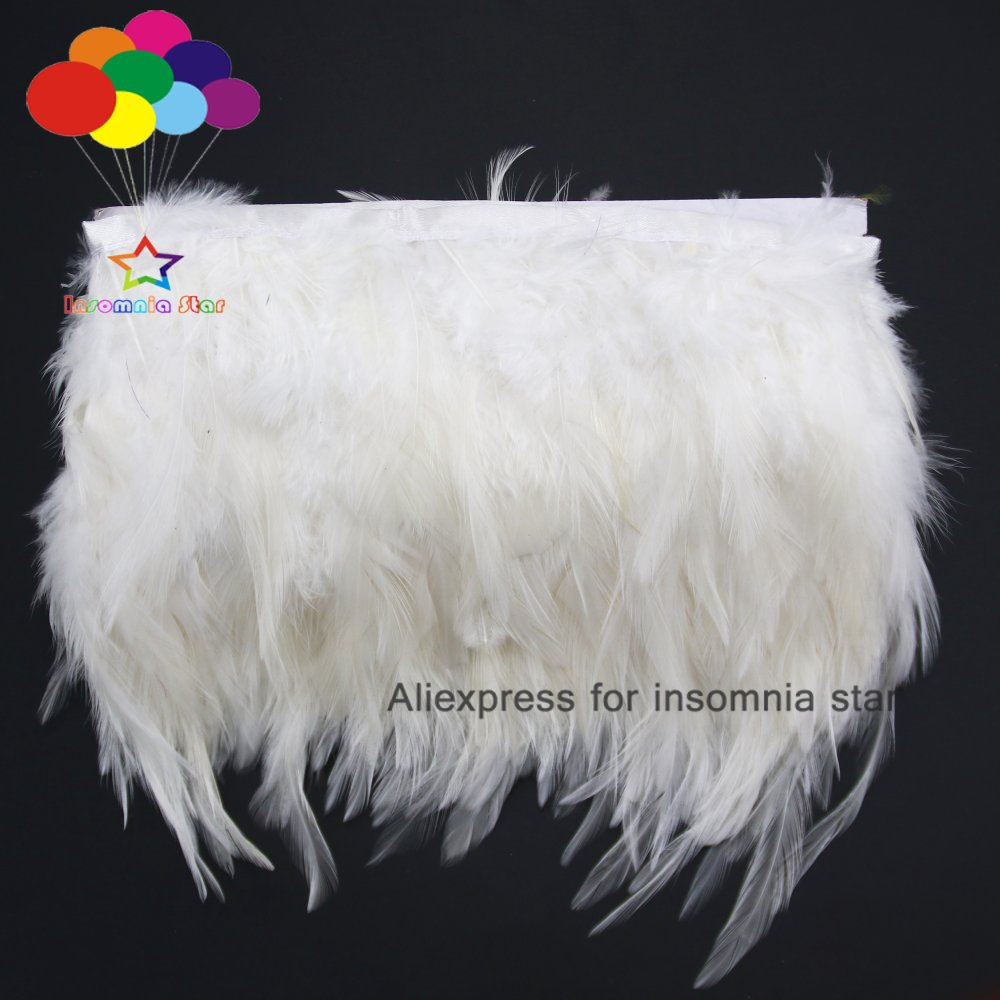 1/10 metros de plumas blancas de cola de gallo 8-12cm de ancho tejido de gallo banda lateral para ropa de fiesta de boda adornos bufanda DIY