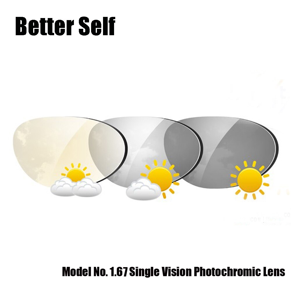 1,74 1,67 gafas de sol de visión única transiciones lente fotogris Photobrown marco gratis servicio de montaje gafas fotocrómicas