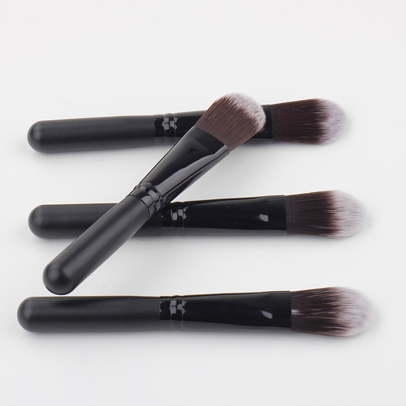 Black color Foundation cosmetics brushes wood handle soft nylon hair pro makeup tools & accessories for women 200pcs/lot DHL