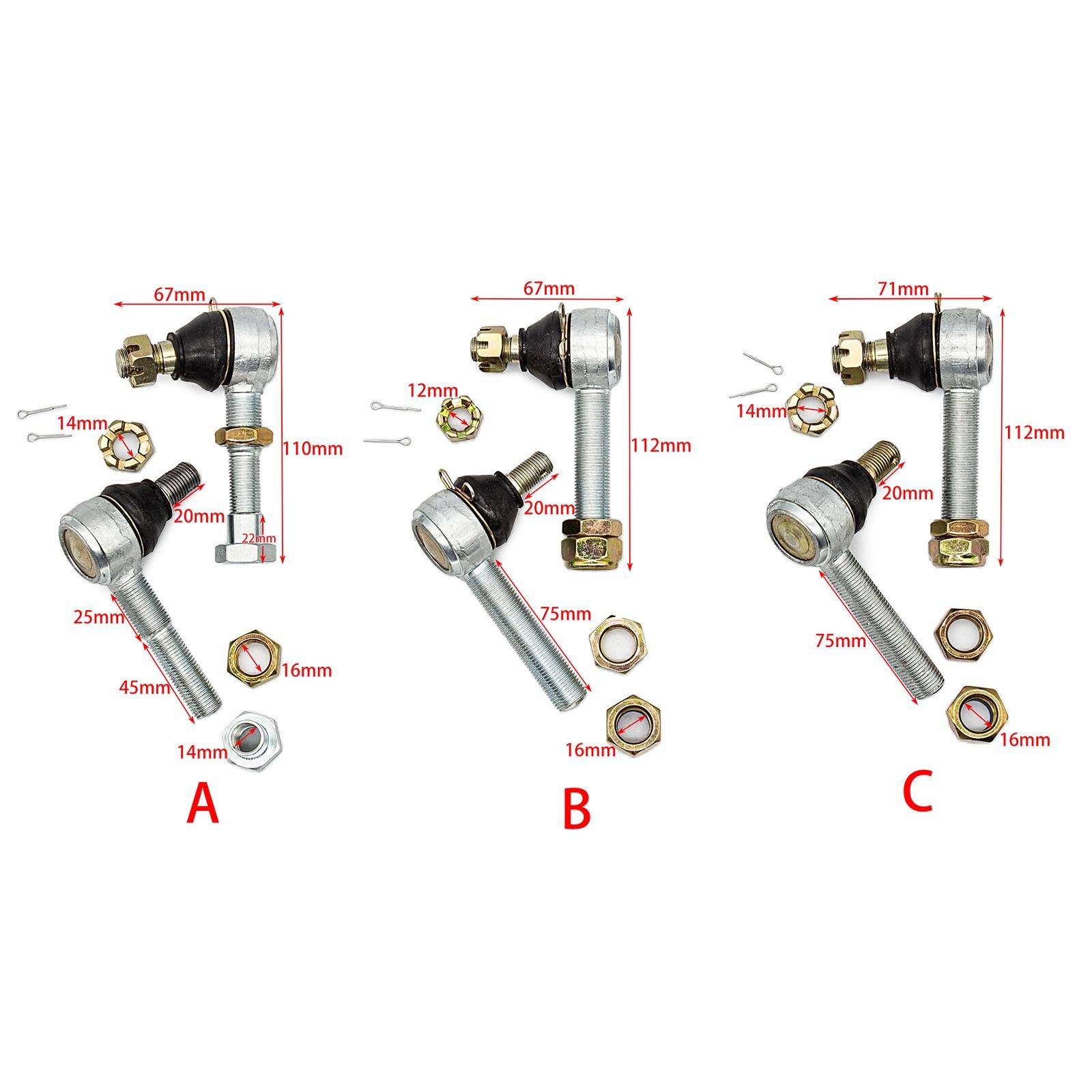 2 Pcs Hand Thread M16/M12/M14 Bolt Tie Rod End Ball Joint for 150cc 250cc Quad Dirt Bike ATV Go Kart Dune Buggy