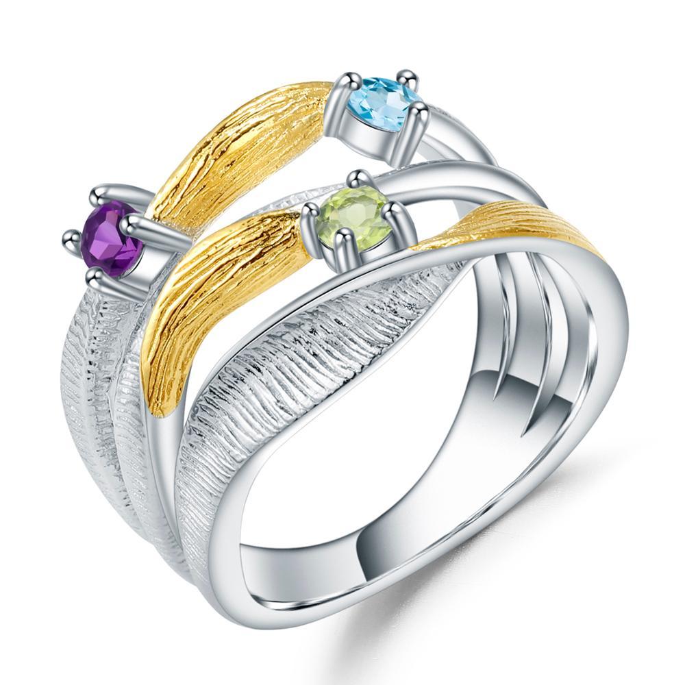 GEM'S باليه-خاتم من الفضة الإسترليني عيار 925 مرصع بحجر الزبرجد الطبيعي والجمشت والتوباز والأحجار الكريمة للنساء