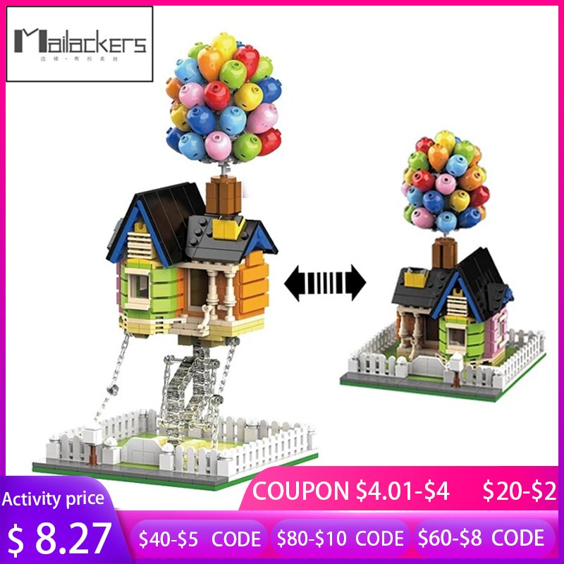 Mailackers City Expert Architecture Flying Balloon House Tensegrity Sculptures Modular City Building Blocks House Children Toys