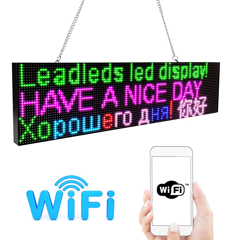 Светодиодный дисплей 52 см RGB Полноцветный WiFi Программируемый Прокрутка сообщения светодиодный экран доска Многоязычная реклама/Бизнес...