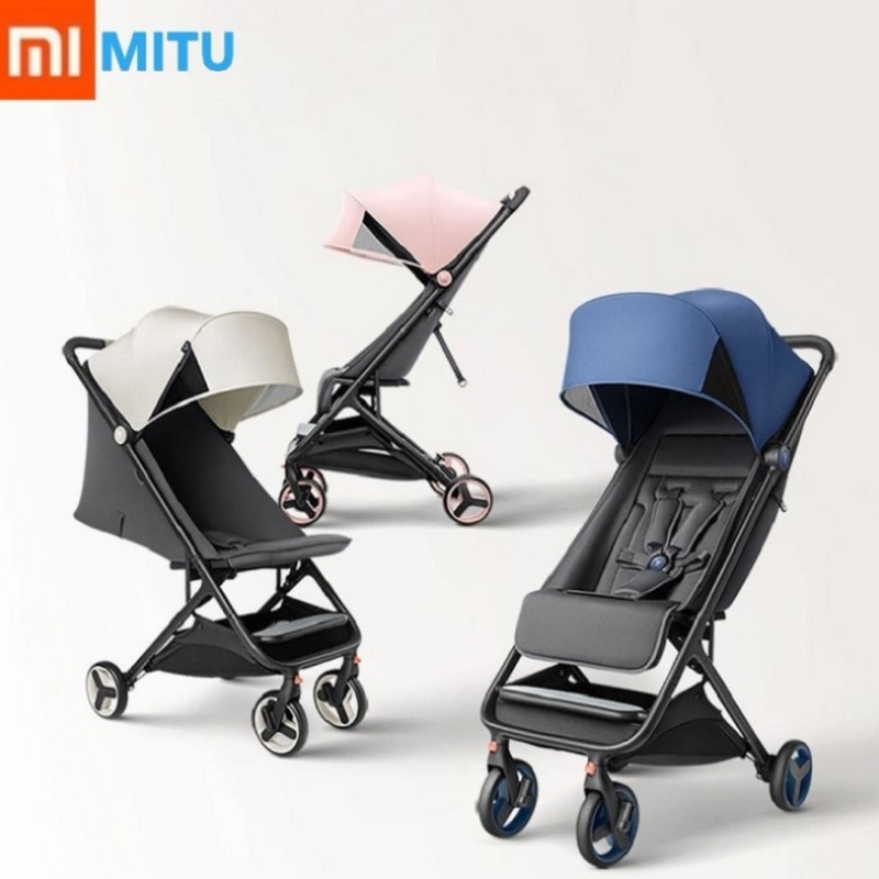 XIAOMI Mitu في الطفل عربة للطي 4 عجلة صدمة امتصاص عربة المضادة للأشعة فوق البنفسجية المضادة للبكتيريا وسادة السفر الطفل عربة