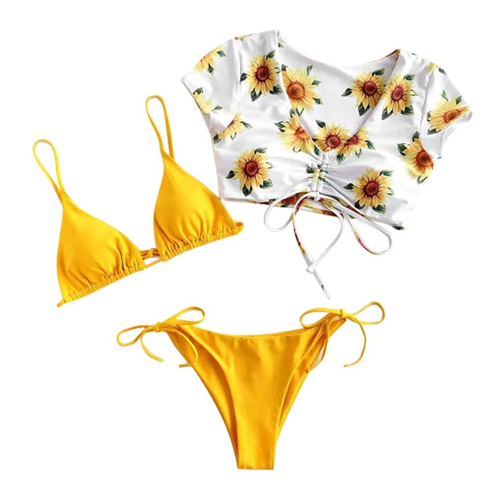 Sagace 2020 novo biquíni feminino conjunto de impressão flor maiô três peça cheia sutiã banho estilo simples beachwear