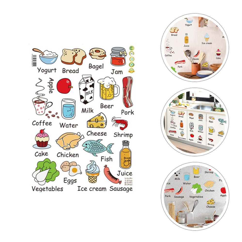 2pcs Kitchen Fridge Wall Stickers Vegetables Decals Decors Meat Food Stickers