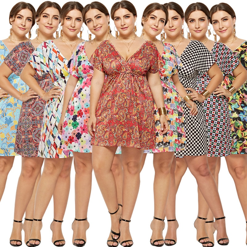 Women Plus Size Summer Dress V-Neck Fashion Printed Short Sexy Dresses Plus Size Women Clothing Beach Dress Vestido sexy beach summer dresses women 2019 solid chiffon a line short holiday dress backless bowknot ladies beach cover up plus size