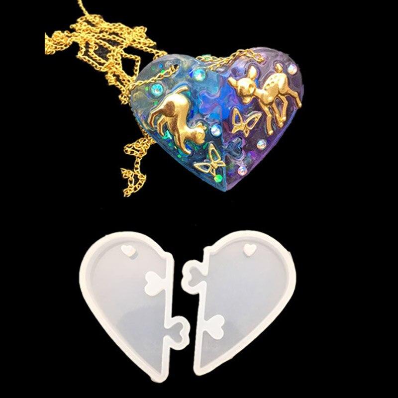 2 pçs par coração fechaduras para diy resina epóxi molde jóias ferramentas amantes pingente molde de silicone líquido