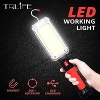 Переносной светодиодный Рабочий фонарь с крючком, Кемпинговый светильник COB, зарядка от USB, водонепроницаемый фонарь с 18650 ярким свесветильн...