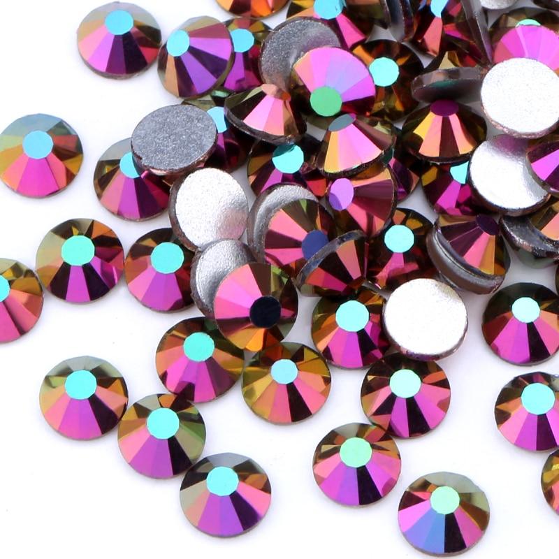 Arco Iris AB SS3-SS20 3D uñas arte puntas de cristal Rhinestone Flatback DIY Nail Deco cuentas no hotfix uso pegamento 1440 Uds boda deco