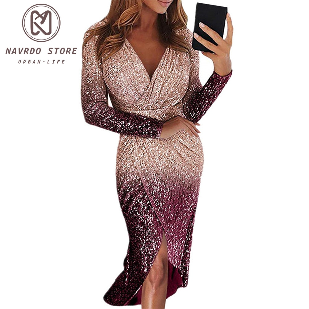 Women Sexy Irregular Evening With Long Sleeves And Color-Changing Sequins Fishtail Dress