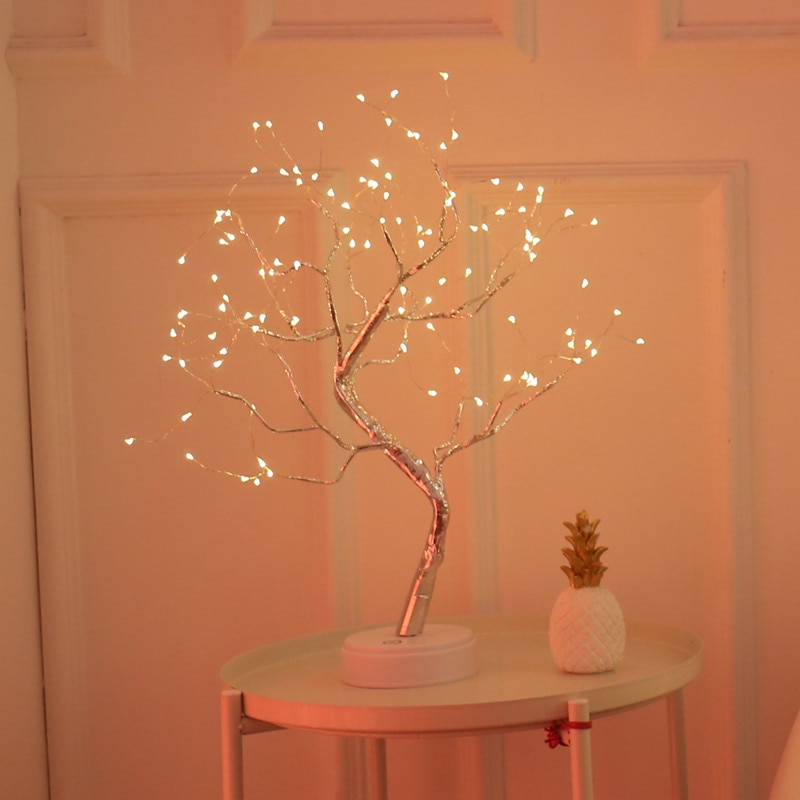 LED Copper Wire Night Light Tree Fairy Lights Home Decoration Night Lamp USB Battery Operated For Bedroom Bedside Table Lamp enlarge