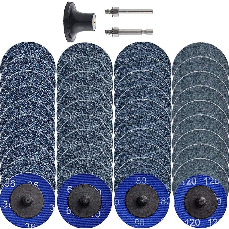 40 Uds Cambio rápido lijado Set de discos 2 uds 1/4 pulgadas titulares morir Grinder superficie acondicionado Burr pintura antioxidante eliminación