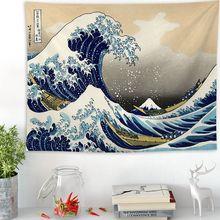 Japan Kanagawa Waves Printed Hanging Tapestry Whale Arowana Wall Hanging Tapestries Boho Bedspread Yoga Mat Blanket 200*150cm