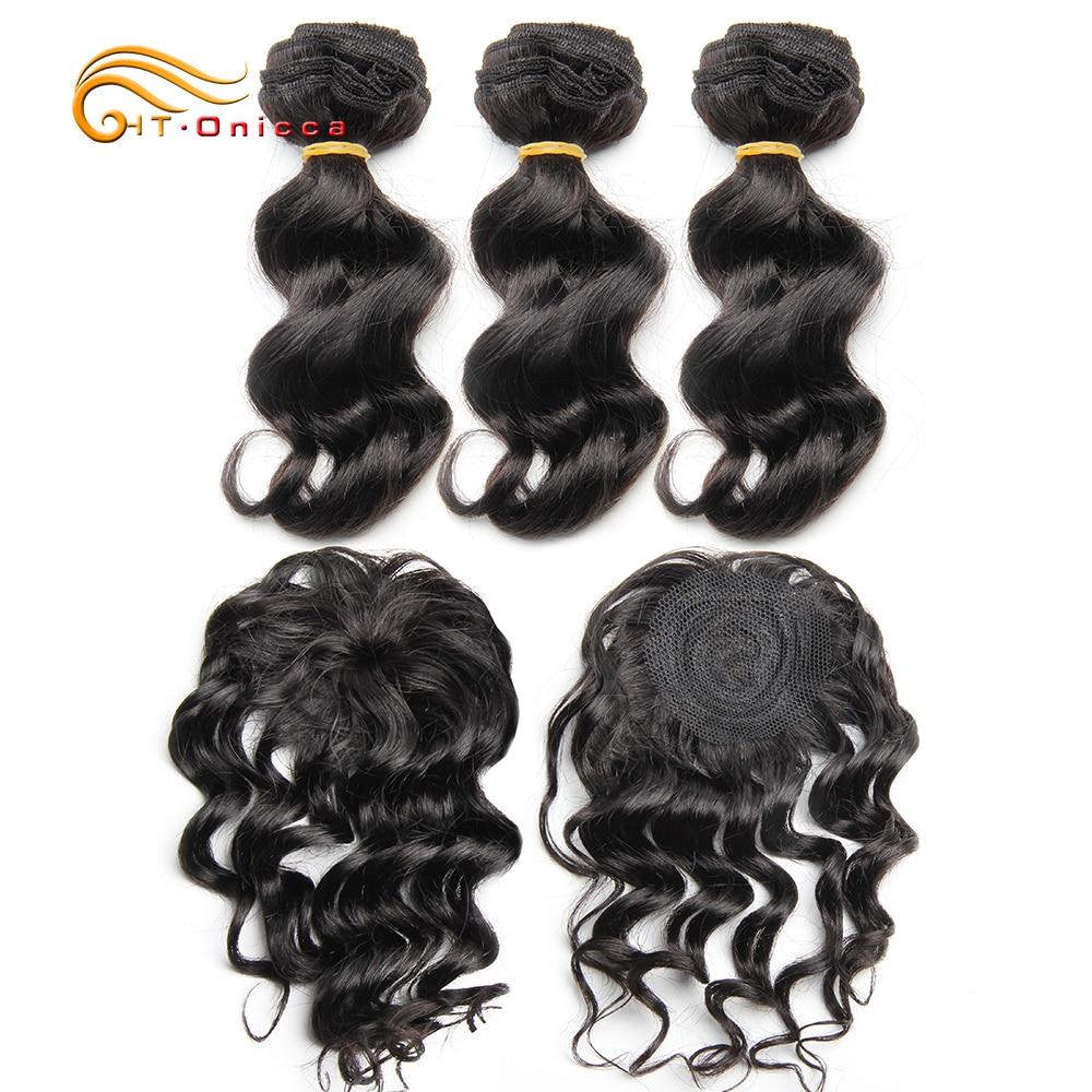 Fasci di onda profonda allentata 3 con chiusura fasci di capelli umani dritti 8 10 fasci di tessuto brasiliano per capelli a onda corta da 12 pollici