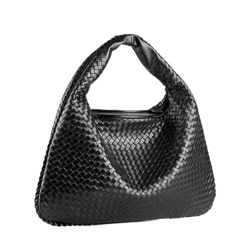 حقيبة كتف نسائية من الجلد الطبيعي ، جلد خراف ناعم ، نسج يدوي ، حقيبة تسوق ، حقيبة يد هوبو ، مصممة
