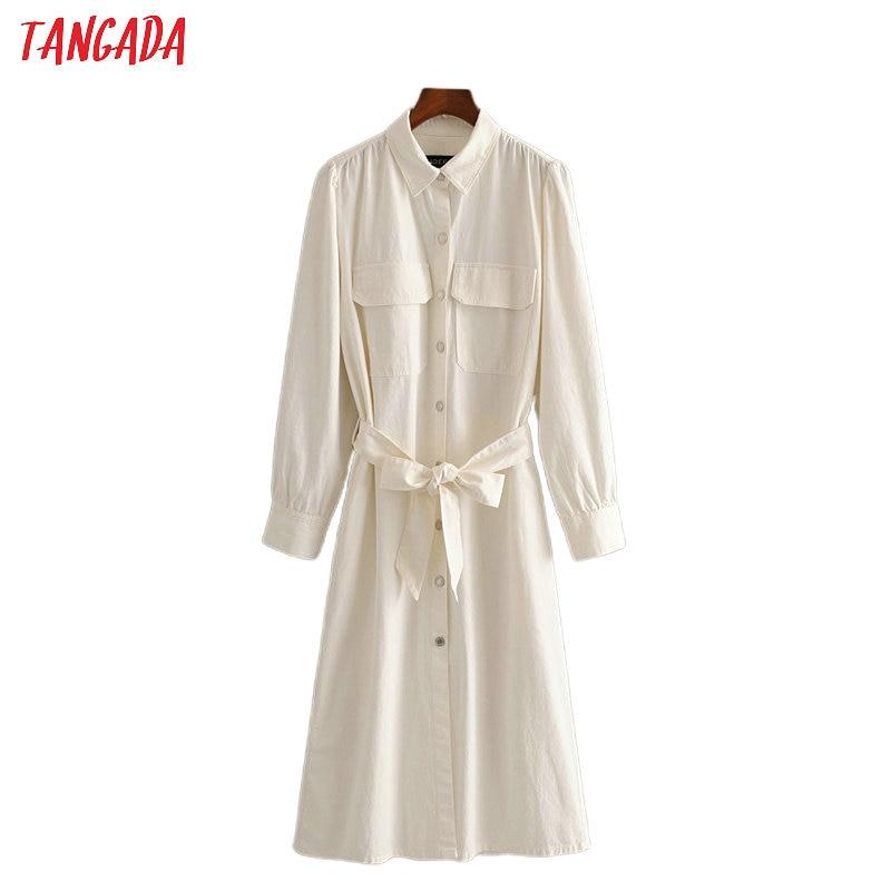 Tangada 2020 women denim white dress with slash pocket turn down collar Long Sleeve Ladies elegant midi Dress Vestidos 3H455