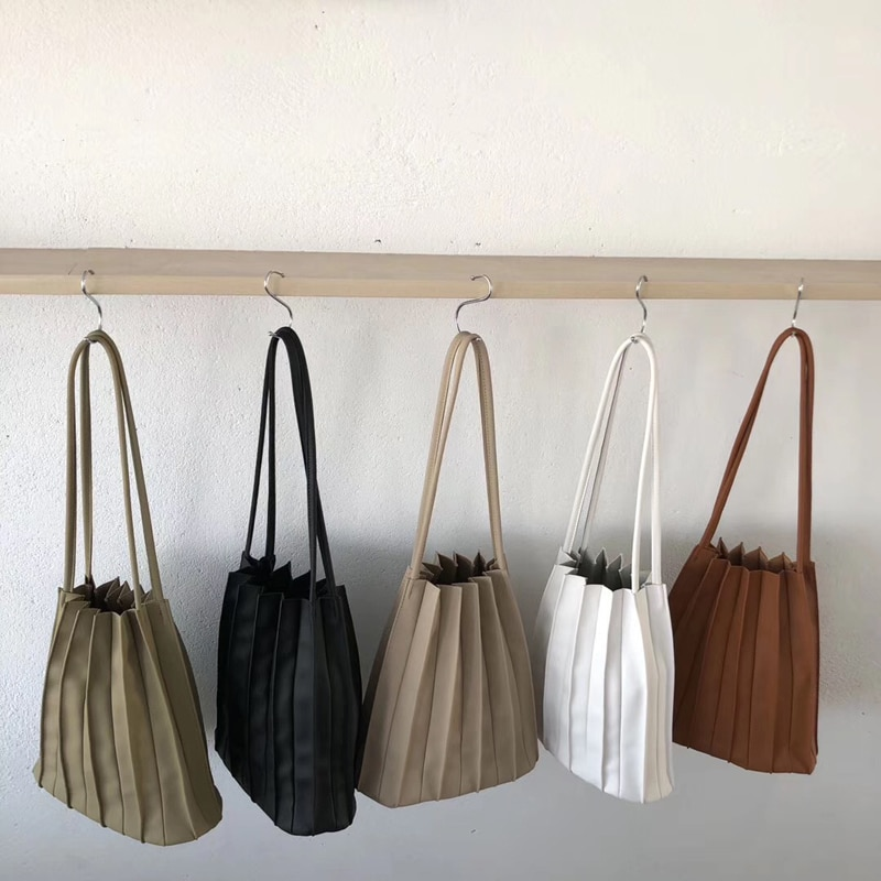 Solid Color Pleated Women's Bag Small Women Handbags Organ Designer Chic Female Bag Sets Japan Ladies Shoulder Bag Whole Sale
