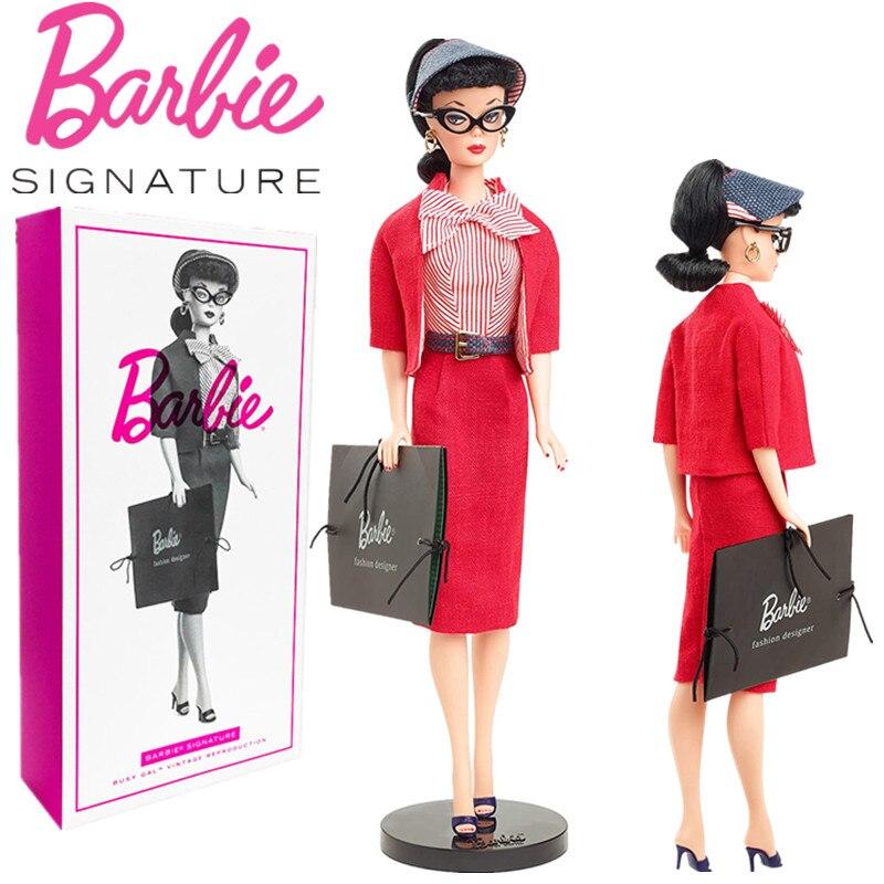 Muñeca Original de Barbie, edición de coleccionistas, regalo para niñas, etiqueta dorada,...