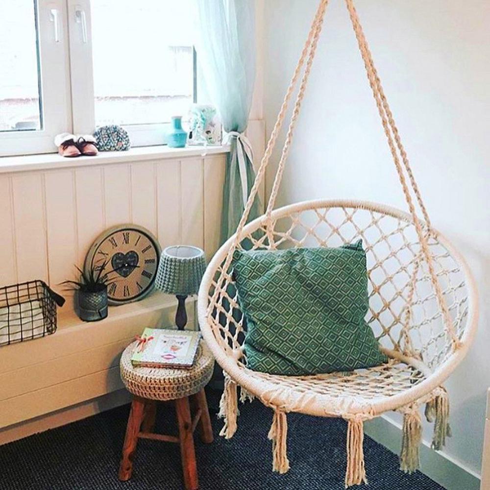 Cadeira de jardim balançando interior mobiliário ao ar livre rede pendurado corda cadeira balanço cadeira assento com 2 travesseiros rede acampamento