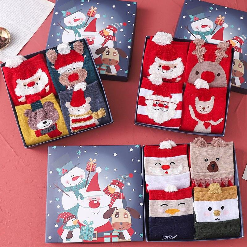 Женские носки новогодние с Санта-Клаусом, детские подарки, модные милые хлопковые Мультяшные рождественские носки унисекс, 2020, четыре пары, ...