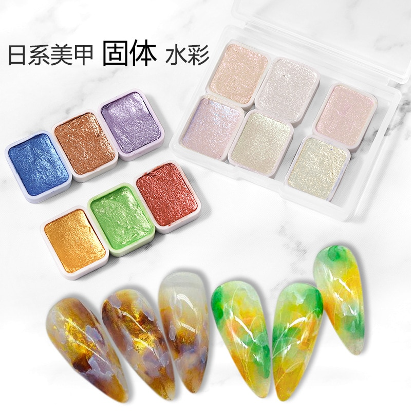 6pcs Multi Colors Nail Art Pigment Glitter Solid Paint Aurora Watercolor Smudge Blooming Gradient Gel Polish DIY Manicure